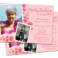 Pink Floral Birthday Invitation for Women Photo