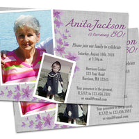 Floral Purple Birthday Invitation for Women