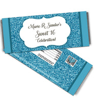 Silver and Aqua Glitter Sweet 16 Candy Bar Wrappers