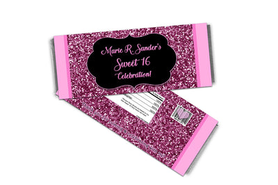 Pink Glitter Sweet 16 Candy Bar Wrappers