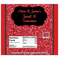 Black & Red Glitter Sweet 16 Candy Bar Wrappers