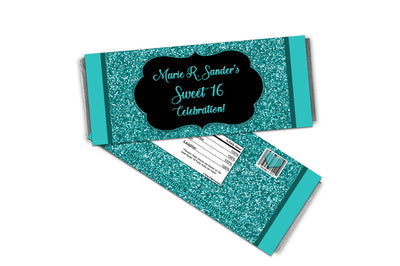Turquoise Glitter Sweet 16 Candy Bar Wrappers