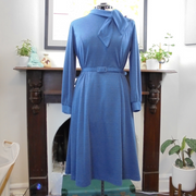 Antoinette vintage long sleeve blue dress (L)-Dress-Mint Preloved
