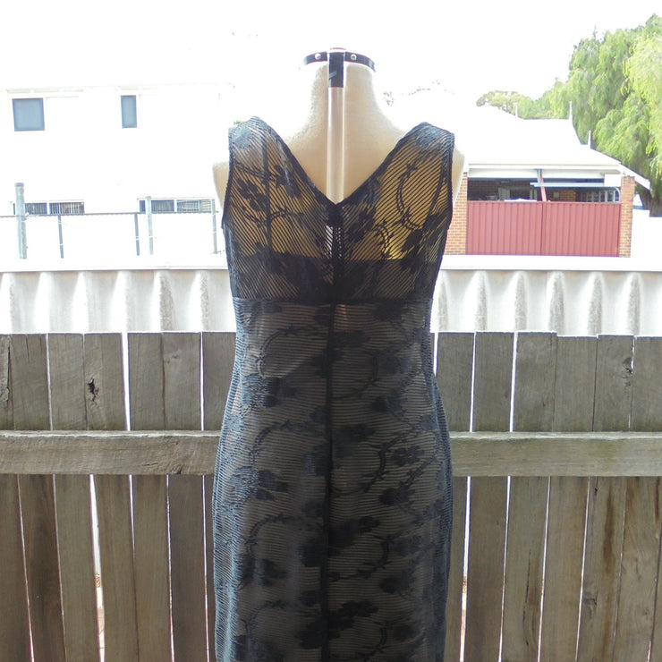 Joi sheer black dress with nude slip (L)-Dress-Mint Preloved