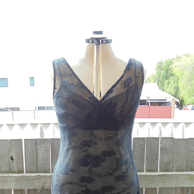 Joi sheer black dress with nude slip (L)