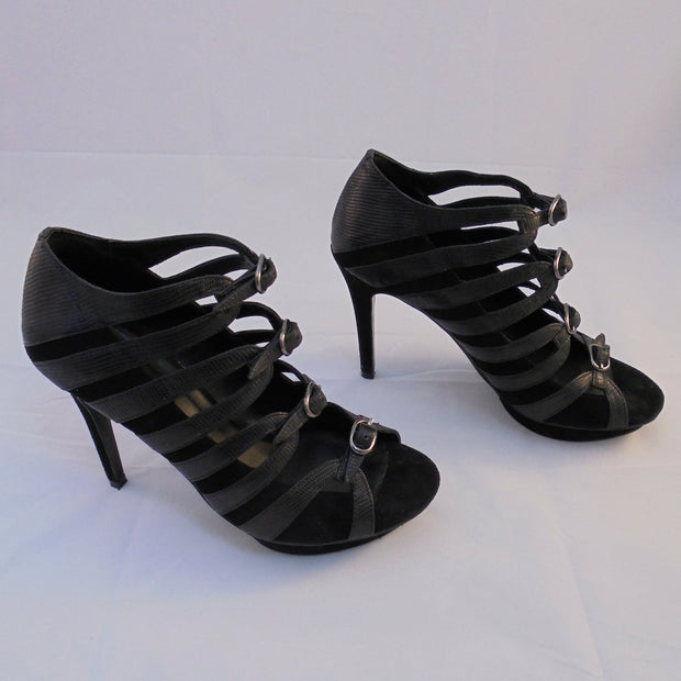 Zomp black leather heels (39)