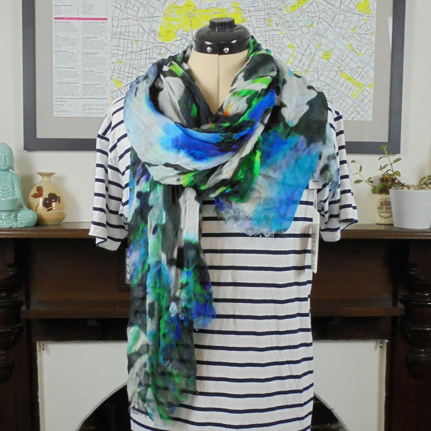 Marcs blue multi colour scarf NWT