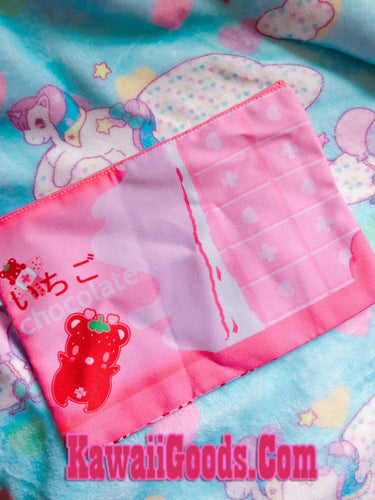 Yami Kawaii Ichigo Bear Strawbeary Chocolate Bar Cosmetic Pouch (Made to Order)