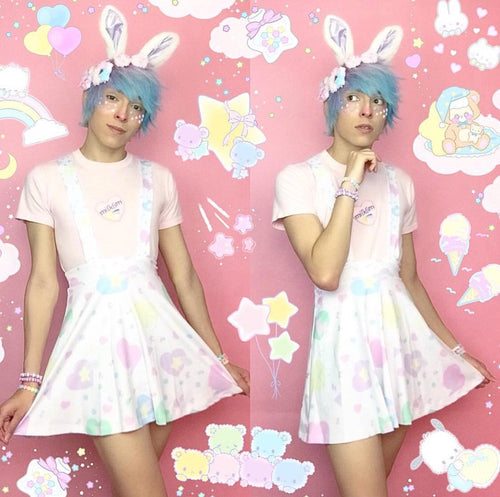 Heart Confetti Party Yume Kawaii Suspender Skirt (Made to Order)
