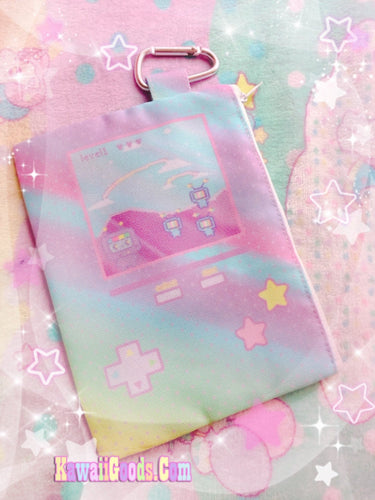 Kikko TV Video Game Pastel Rainbow Cosmetic Pouch (Made to Order)