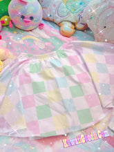 Load image into Gallery viewer, Pastel Rainbow Checker Skirt, Pastel Skirt (Made to Order)