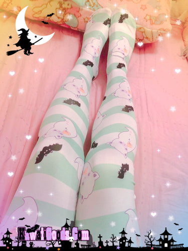 Alpaca Ghost Tights, Halloween Bat Tights (Made to Order)