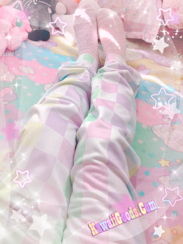 Pastel Checkered Fairy Kei Pants Joggers (Made to Order)