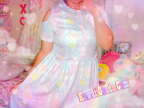 Pastel Alien Gummy Bears Gingham Yume Kawaii Dress (Made to Order)