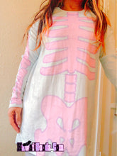 Load image into Gallery viewer, Pastel Goth Skeleton Velvet Long Sleeve Cutout Dress (Made to Order)