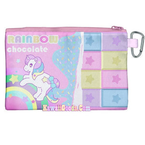 Pastel Dreamy Rainbow Unicorn Chocolate Bar Cosmetic Pouch (Made to Order)