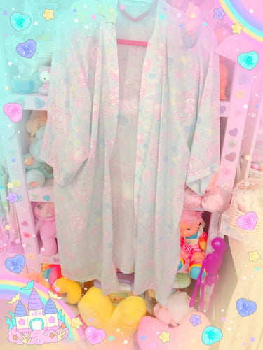 Pastel Sweet Tooth Shark and Alien Seal Doughnut Kimono Robe Cardigan Top (Made to Order)