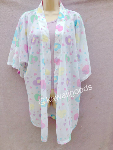 Heart Confetti Party Yume Kawaii Kimono Robe Cardigan Top (Made to Order)