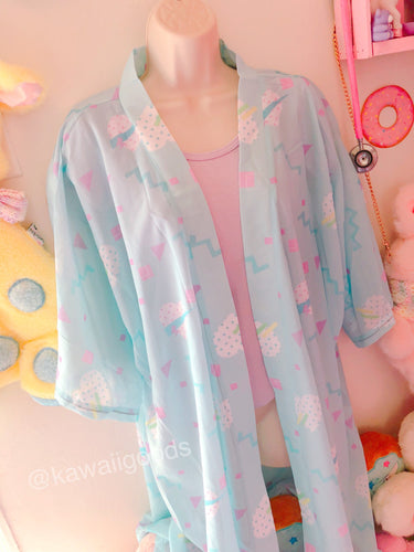 Geometric Heart 80s Yume Kawaii Kimono Robe Cardigan Top (Made to Order)
