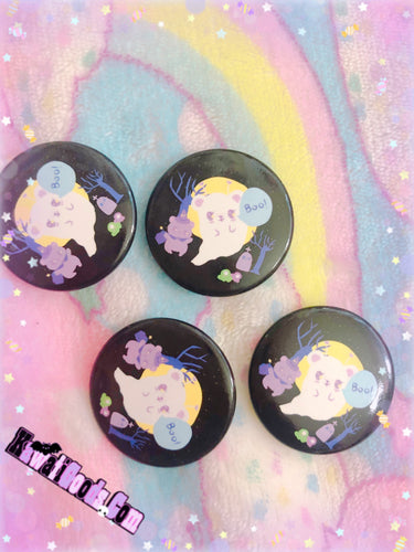 Alien Ghost Bear and Witch Bear Halloween Button