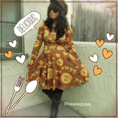 Eat Me Cookie Biscuit Long Sleeve Dress (Made to Order)