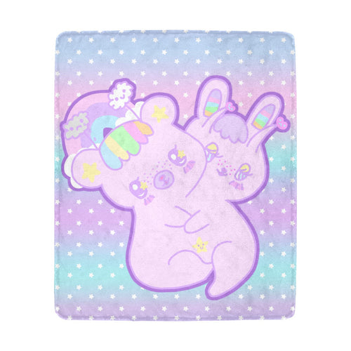 Emotion Bear and Yami Bunny two headed creature Blanket (Made to Order)