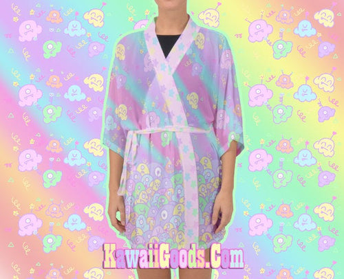 Alien Ice Cream Scoop Monster Party Kimono Robe Cardigan  (Made to Order)