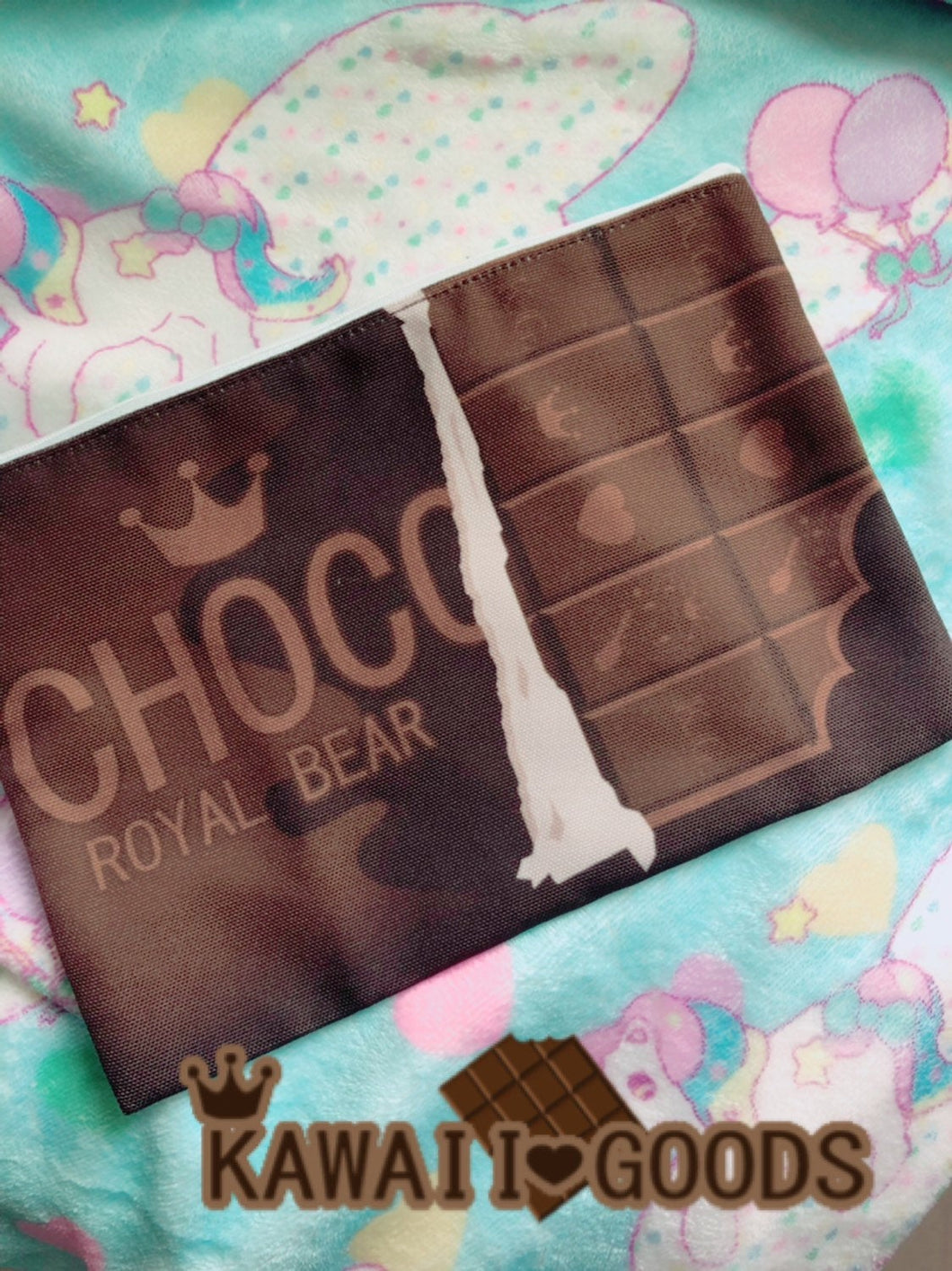 Choco Royal Bear Chocolate Bar Cosmetic Bag Pouch (Made to Order)