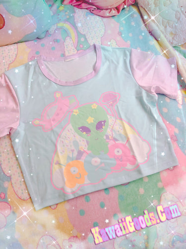Alien Cutie Reba the alien and Kikko Tv kawaii Crop Top (Made to Order)