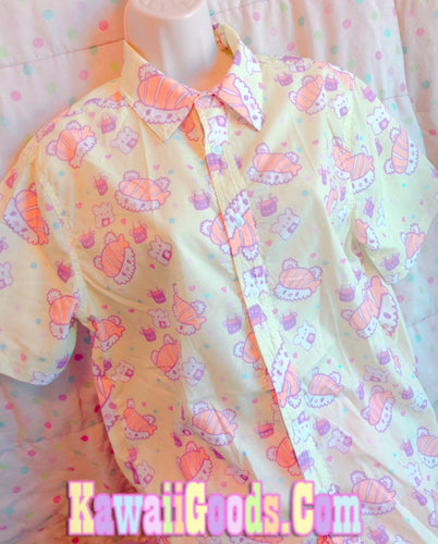 Pastel Sushi Bear Top, Kawaii Food Blouse (Made to Order)