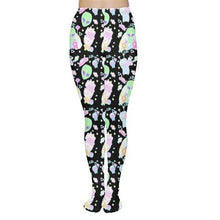 Load image into Gallery viewer, Alien Cutie Reba the alien and Kikko Tv tights or leggings black version (Made to Order)