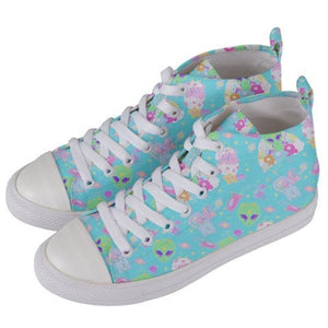 Alien Cutie Reba the alien and Kikko TV Shoes, Fairy Kei Shoes Men (Made to Order)