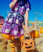 Load image into Gallery viewer, Candy Cemetery Creepy Cute Witch Bear Halloween Dress (Made to Order)