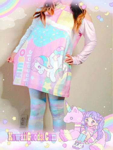 Rainbow Unicorn Chocolate Bar Sweetie Dreams velvet Dress (Made to Order)