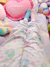 Load image into Gallery viewer, Heart Confetti Party Yume Kawaii jogger pants (Made to Order)