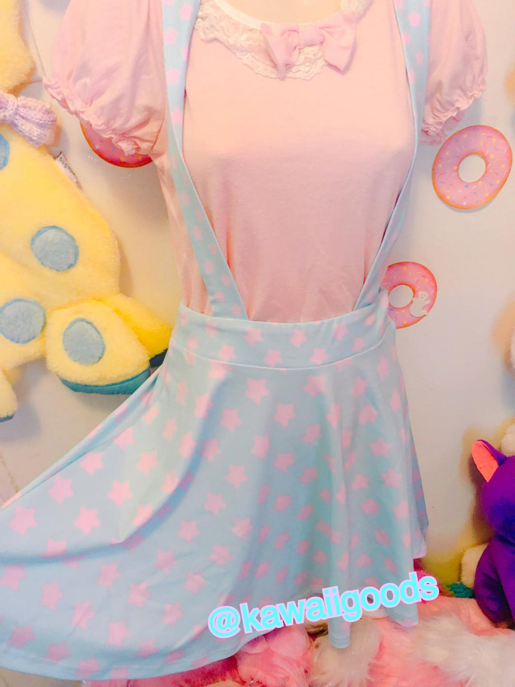Starry Pastel Yume Kawaii Suspender Skirt (made to order)