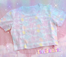 Load image into Gallery viewer, Pastel Alien Bears Gingham Yami kawaii Crop Top (Made to Order)