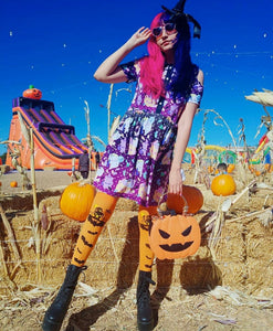 Candy Cemetery Creepy Cute Witch Bear Halloween Dress (Made to Order)