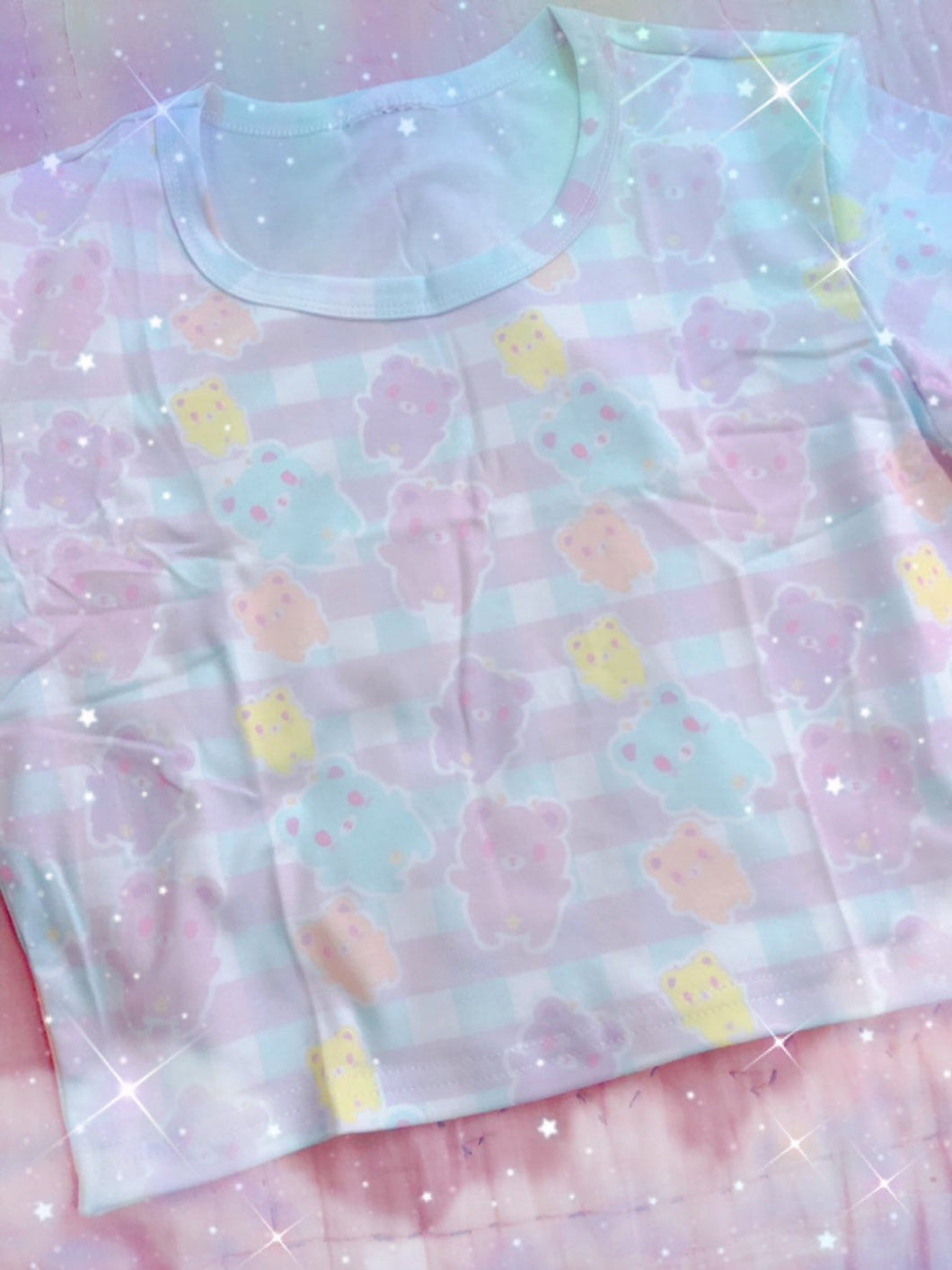 Pastel Alien Bears Gingham Yami kawaii Crop Top (Made to Order)