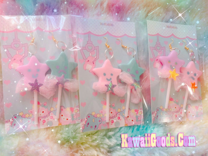 Star Dreamy Lollipop Fairy Kei Yume Kawaii earrings