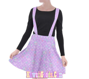 Hurt Bear Pixel Game Suspender Skirt