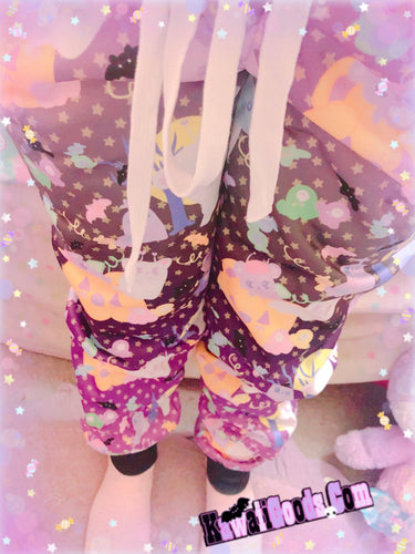 Candy Cemetery Creepy Cute Witch Bear Jogger Pants (Made to Order)