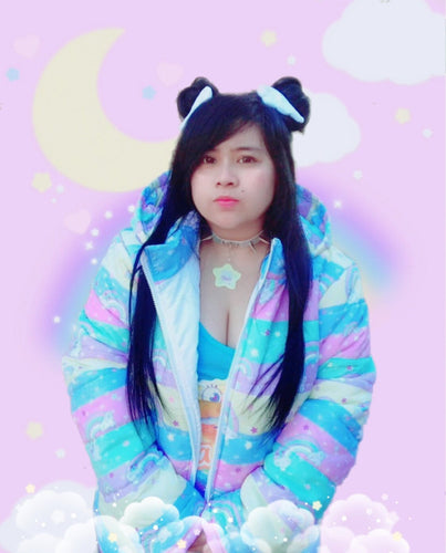 Rainbow Cloud Friends Puffy Jacket (made to order)