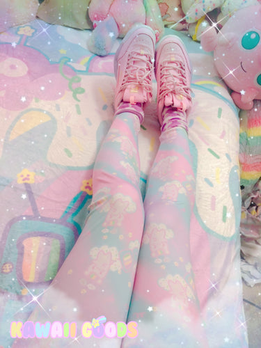 Emotion Bear and Kikko TV dreamy clouds leggings (made to order)