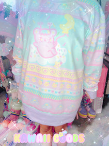 Kawaii Pastel Shooting Star Emotion Bear Fairy Kei Sweater