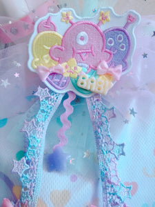 Ice cream Scone Alien Monsters 2-way clip tulle bow