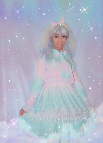 Dreamy Gradient Starry Chiffon Dress (Made to Order)