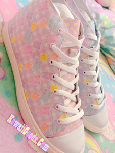 Pastel Alien Bears Gingham Shoes Men (Made to Order)