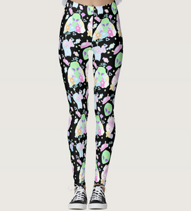 Alien Cutie Reba the alien and Kikko Tv tights or leggings black version (Made to Order)
