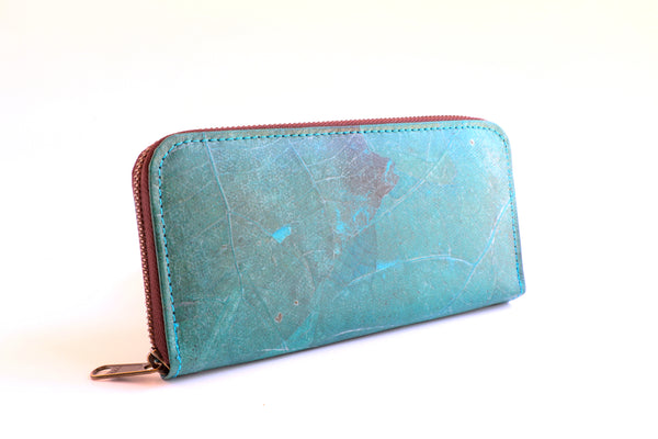 Leaf Leather Zipper Clutch